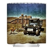 Vintage Vehicle At Vintage Gas Pumps Shower Curtain by Jill Battaglia