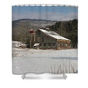 Vintage Weathered Wooden Barn Shower Curtain