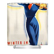 Vintage Winter In Austria Travel Poster Shower Curtain