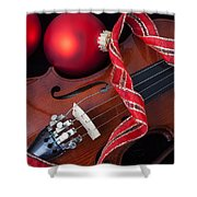 Violin And Red Ornaments Shower Curtain