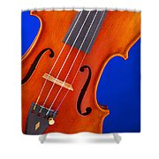 Violin Isolated On Blue Shower Curtain