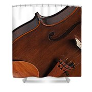 Violin Isolated On White Shower Curtain