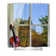 Violin On A Window Sill Shower Curtain