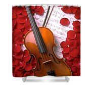 Violin On Sheet Music With Rose Petals Shower Curtain