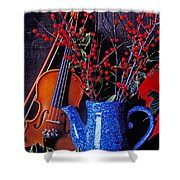 Violin With Blue Pot Shower Curtain