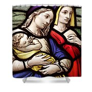 Virgin Mary And Baby Jesus Stained Glass Shower Curtain