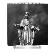 Virgin Mary And The Thunderstorm Bw Shower Curtain