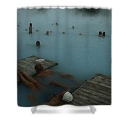 Visitors To Thermal Springs Of The Blue Shower Curtain