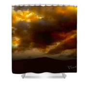 Vivachas Golden Hour Sunset Glowing Clouds  Shower Curtain