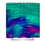 Vivid Wind Haiku Shower Curtain