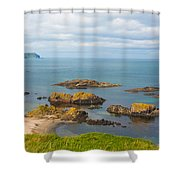 Volcanic Rock Formations In Ballintoy Bay Shower Curtain