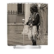 Voodoo Man In Jackson Square New Orleans- Sepia Shower Curtain