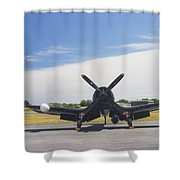 Vought F4u Corsair Fighter Plane On Runway Canvas Photo Poster Print Shower Curtain