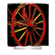 Wagon Wheel In Red Shower Curtain