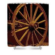 Wagon Wheel In Sepia Shower Curtain