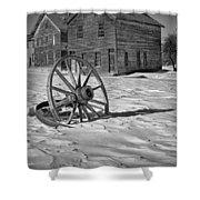 Wagon Wheel In Winter Shower Curtain