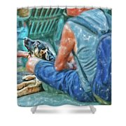 Waiting For The Parade Watercolor Shower Curtain