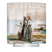 Waiting For The Return Of The Fishing Fleets Shower Curtain