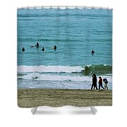 Waiting Surfers Shower Curtain
