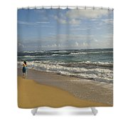 Walking In The Water At  Anahola Beach Shower Curtain