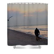 Walking On The Beach - Cape May Shower Curtain