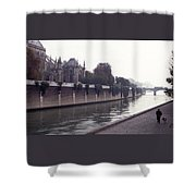 Walking The Dog Along The Seine Shower Curtain