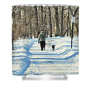Walking The Dog Shower Curtain by Paul Ward
