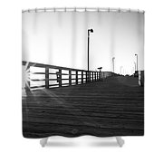 Walking The Planks Sunrise Shower Curtain