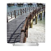 Walkway To Holiday Huts Over Lagoon Shower Curtain