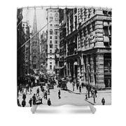 Wall Street Looking Toward Old Trinity Church - New York City - C 1910 Shower Curtain
