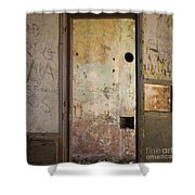 Walls With Graffiti In An Abandoned House. Shower Curtain