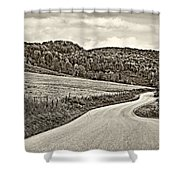 Wandering In West Virginia Sepia Shower Curtain