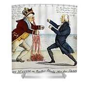 War Of 1812: Cartoon, 1813 Shower Curtain