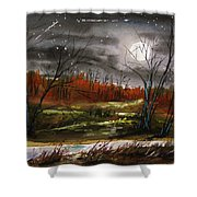 Warm Night And Meteor Shower Shower Curtain