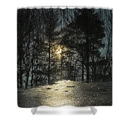 Warmth Above Icy Reflections Shower Curtain
