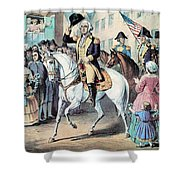 Washington Enters New York City After Shower Curtain