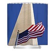 Washington Monument Flag Shower Curtain