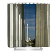 Washington Monument Framed By Lincoln Memorial Shower Curtain