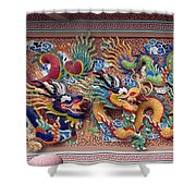 Wat Uphai Rat Bamrung Dancing Dragon Diorama Dthb1095 Shower Curtain