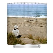 Watching The Ocean Shower Curtain