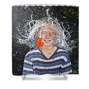 Water Balloon Popped Above Boys Head Shower Curtain