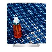 Water Bottle On A Blanket Shower Curtain