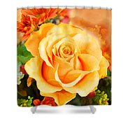 Water Color Yellow Rose With Orange Flower Accents Shower Curtain