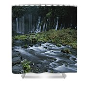 Water Falling And Flowing Over Rocks Shower Curtain
