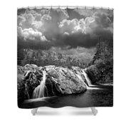Water Falls At The Aquasabon River Mouth Shower Curtain