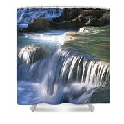 Water Flowes Over Travertine Formations Shower Curtain