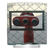 Water Hydrants Built Into A Wire Mesh Fence Shower Curtain