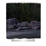 Water Moving Around Rock Shower Curtain