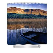 Water Reflections With Boat Shower Curtain