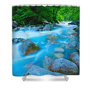Water Rushing Through Rocks Shower Curtain